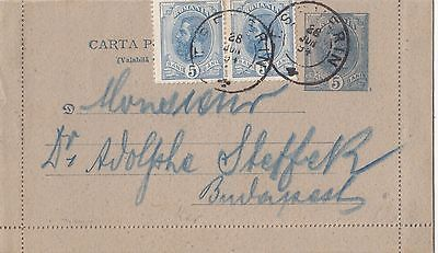 Romania 1894 - 1895   Issue Postal Stationery Letter-Card 5  Bani Used Uprated
