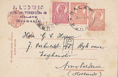 Romania 1921 - 1922  Issue Postal Stationery Card Used From Galati To Holland