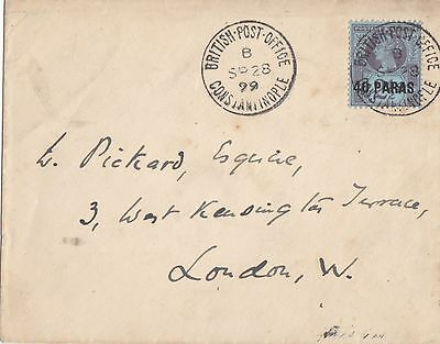 British Levant 1899 Single Franking Cover From Constantinople To London England