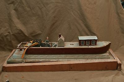 """Vintage Hand Painted Folk Art """"FIRST SUCCESSFUL STEAMBOAT"""" Steam Ship Model"""