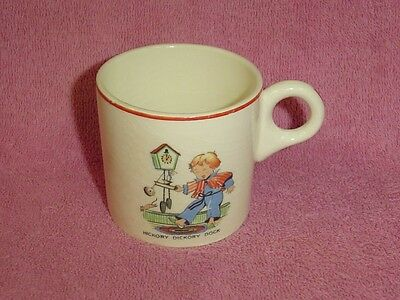Vintage Ceramic Child's Mug Cup Hickory Dickory Dock