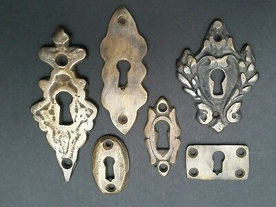 "6 Various Antique Style Escutcheon Key Hole Covers Ornate 1-3"" Solid Brass #E"