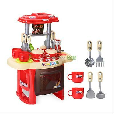 Deluxe Children Kids Kitchen Cooking Pretend Play Toy Set With Accessories Red