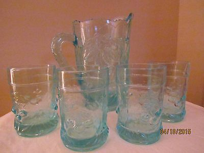 Westmoreland/l.g.wright Wreathed Cherry Water Pitcher Set~Blue