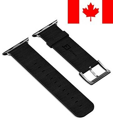 Apple Watch Band, 42mm Genuine Leather Strap Wrist Band Replacement w/ Metal ...
