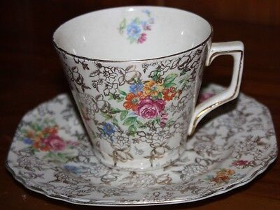 Vintage Lord Nelson Ware Rose Time China Cup And Saucer