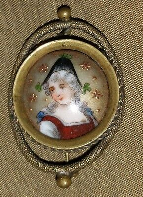 Antique  Georgian Hand Painted Portrait Pin C-Clasp