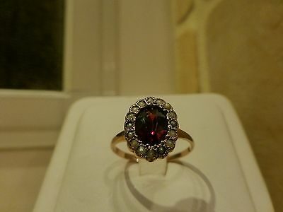 Antique 14k yellow gold oval faceted garnet seed pearl halo ring floral 5.75
