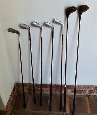 Seven vintage golf clubs made by Forgans of Scotland
