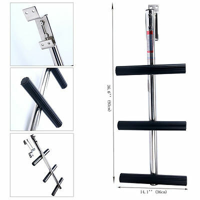 3 Step Boat Boarding Transom Sport Dive Ladder with Bracket Stainless Steel