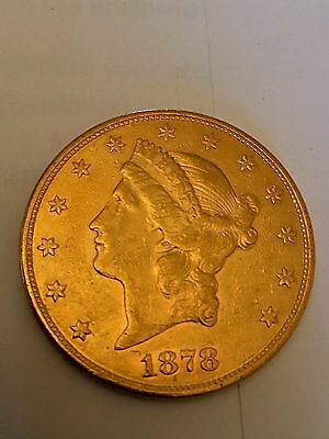 1878-s Circulated Double eagle liberty $20 gold investment coin piece