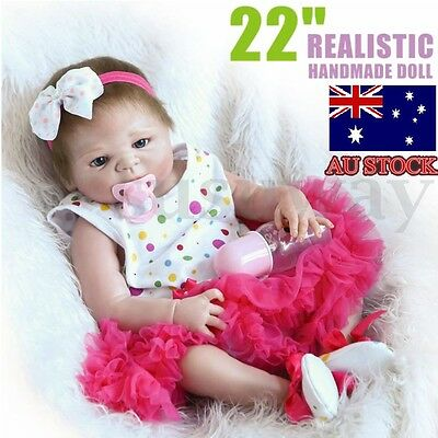 Handmade Full Silicone Body Baby Dolls Newborn Vinyl Reborn Lovely Girl 22'' AU