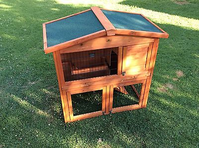 2 Storey Rabbit Guinea Pig Hutch Wood Cage With Tray Chicken Hen Ferret Coop
