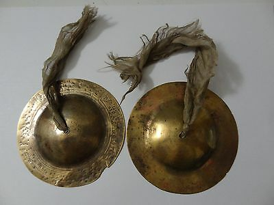 Antique Mongolian Tibetan Buddhist Small Pair Of Cymbals Instruments