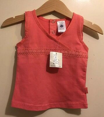 Soo Cute pumpkin patch baby  Girl  coral pink lace Top Size 0-3 months