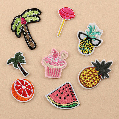 8pcs Embroidered Sew Iron on Patch Badge Fruit Pineapple Motif Cloth Fabric
