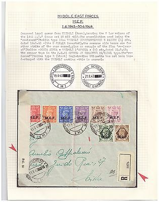 1943 M.E.F. registered censored cover blank provisional etiquette scarce cancels
