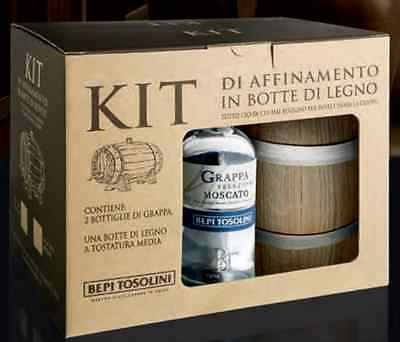 GRAPPA MOSCATO Kit I Legni 2 bt grappa + botte Bepi Tosolini