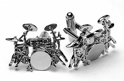 Silver Drum Kit Cufflinks Music Drum Drummers Gifts Christmas Wedding Birthday