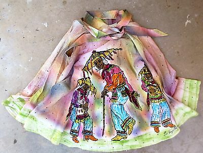 Mexican Circle Skirt - Los Viejitos  Handpainted - Sequins - Vintage 1950s Dance