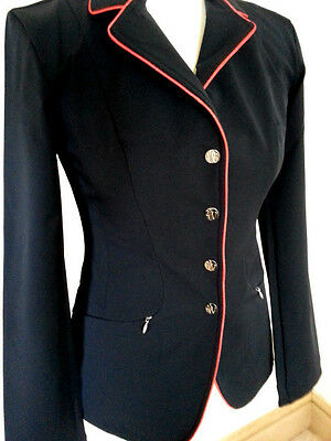 Sale!! John Whitaker Show Jumping Softshell Competition Jacket Navy/red Piping