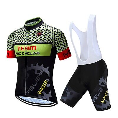 Outdoor Men Pro Team Cycling Bike Short Sleeve Jersey Bib Shorts Set GEL Pad
