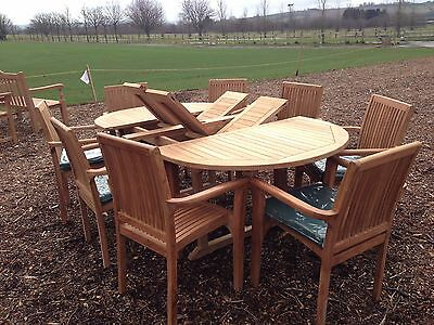 13Pc Teak Gadren Furniture 6 Seater Extending Patio Table Set