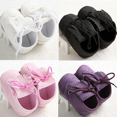 Baby Girl Boy Newborn Leather Soft Sole Shoes Christening Pram Prewalker VP