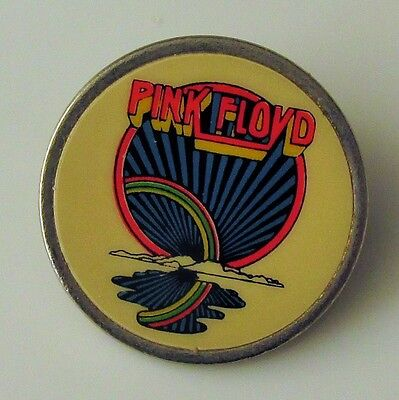 PINK FLOYD VINTAGE METAL PIN BADGE FROM THE 1980's RAINBOW SUNRISE INSERT STYLE