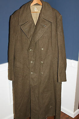 Original Late WW2 French Army Green Wool Trench (Great Coat), 45' dated