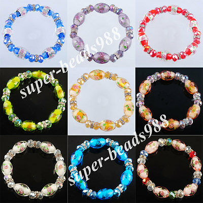 Free shipping Crystal Faceted Glass Beads Stretch Bracelet 7 Inches SBK205