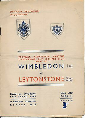 FA AMATEUR CUP FINAL 1947 Leytonstone v Wimbledon @ Arsenal - score on the front