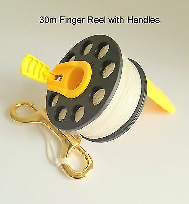 30m Scuba Diving Finger Reel with yellow fold away handles
