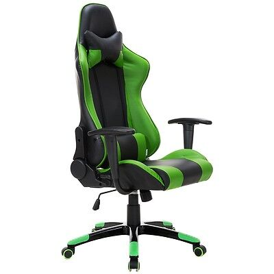 Green High Back Racing Gaming Chair Reclining Office Executive Task Computer