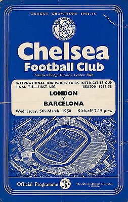 FAIRS CUP FINAL 1958: London v Barcelona (@ Chelsea)