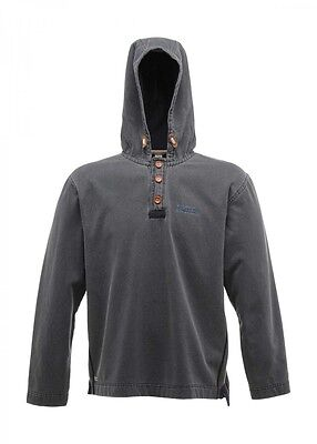Regatta Quiet Time Mens Coolweave Fabric Buttoned Neck Relaxed Fit Hoody Navy S