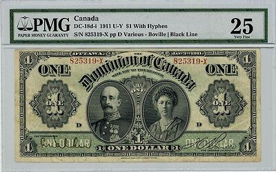 Pick. 27b 1911 U-Y $1 Canada Dollar VF25 PMG DC-18d-i With Hyphen
