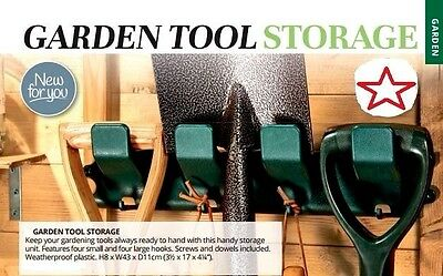 Garden Tool Storage Unit - Features 4 Small & 4 Large Hooks To Keep Tools Tidy