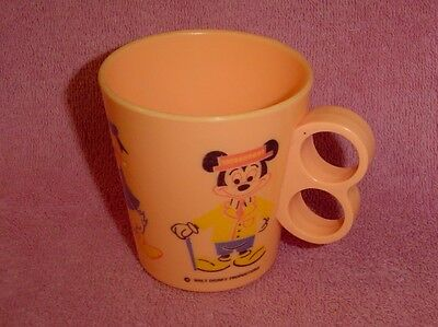 Vintage Plastic Coral Child's Mug Cup Walt Disney Mickey Donald