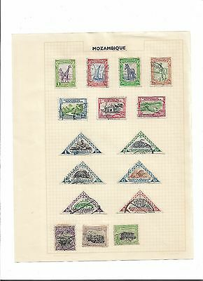 16 used stamps Companie de MOCAMBIQUE Mozambique hinged on an album page