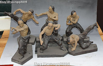"10"" Old Chinese Porcelain Ancient People Man Martial Arts Kung Fu Statue Set"