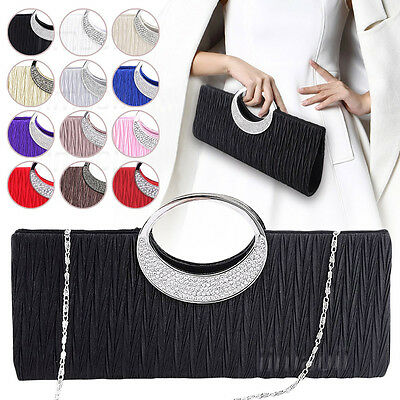Womens Diamante Ring Handle Satin Purse Frill Clutch Bridal Prom Evening Handbag