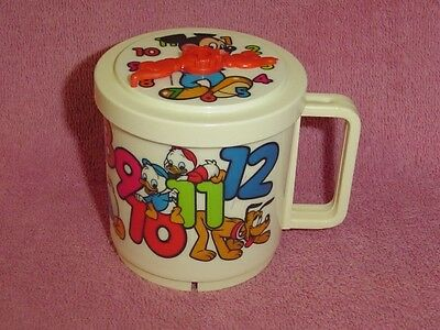 Vintage Plastic Child's Drinking Cup Mug Disney Counting with Clock Lid