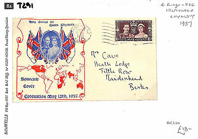 T291 1937 GB FDC Illustrated Royalty CORONATION Commemorative Cover