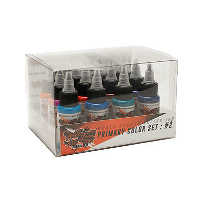 World Famous USA Professional Tattoo Ink Primary Color #2 Box Set 12 Bottles 1oz