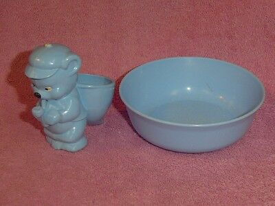 Set 2 Vintage Blue Plastic Child's Bear Drinking Cup Mug and Bowl