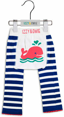 Izzy & Owie Blue and White Whale - 12-24 Months Baby Leggings