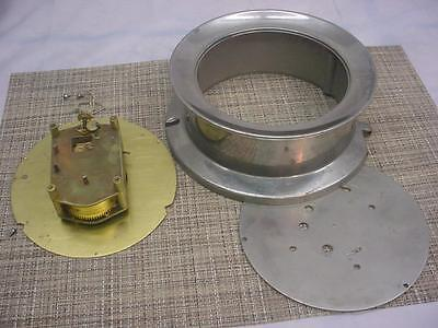 "USN Navy WW2 7-1/2"" Seth Thomas  Ship's Clock Movement & Nickel Plated Case D538"