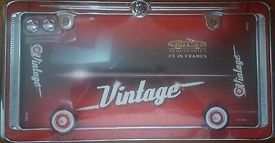 Vintage Antique Old Design Chrome Red License Plate Tag Frame for Auto-Car-Truck