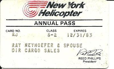 Free Shipping - Vintage 1983 New York Helicopter Annual Employee Pass